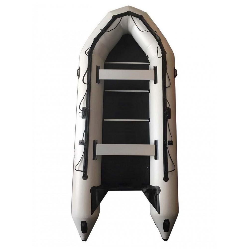 Embarcación neumática OZEAM 400 BLANCA con suelo completo de madera y quilla hinchable