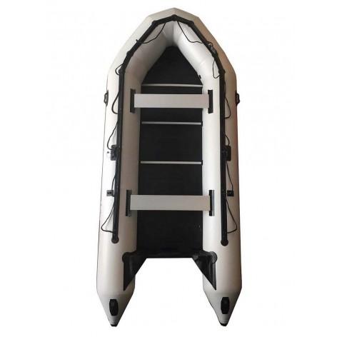 Barco pneumático OZEAM 450 BRANCO com piso de madeira cheio e quilha inflável